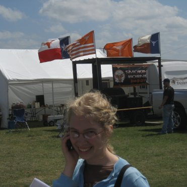 Anna Rose outside the judges' tent
