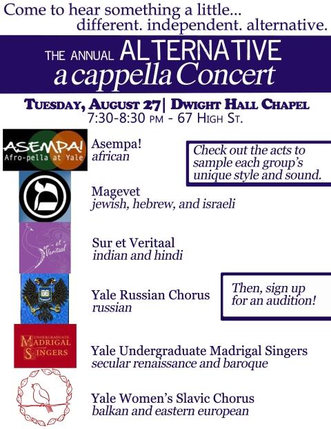 alternative a cappella 2013 flyer